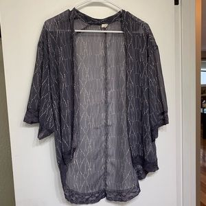 Wild Pearl lace sheer kimono light weight cover up